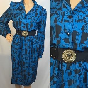 Vintage 80s Abstract Shirt Dress
